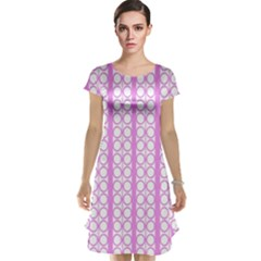 Circles Lines Light Pink White Pattern Cap Sleeve Nightdress