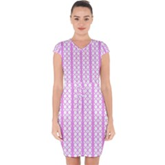 Circles Lines Light Pink White Pattern Capsleeve Drawstring Dress