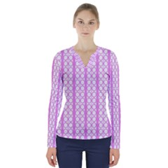 Circles Lines Light Pink White Pattern V Neck Long Sleeve Top