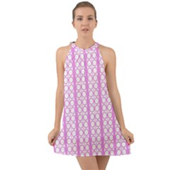 Circles Lines Light Pink White Pattern Halter Tie Back Chiffon Dress by BrightVibesDesign