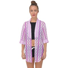 Circles Lines Light Pink White Pattern Open Front Chiffon Kimono by BrightVibesDesign