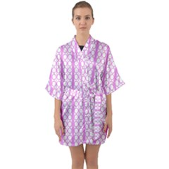 Circles Lines Light Pink White Pattern Quarter Sleeve Kimono Robe by BrightVibesDesign