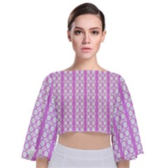 Circles Lines Light Pink White Pattern Tie Back Butterfly Sleeve Chiffon Top by BrightVibesDesign