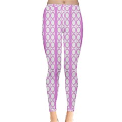 Circles Lines Light Pink White Pattern Inside Out Leggings