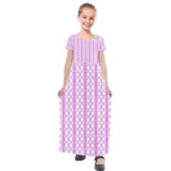 Circles Lines Light Pink White Pattern Kids  Short Sleeve Maxi Dress