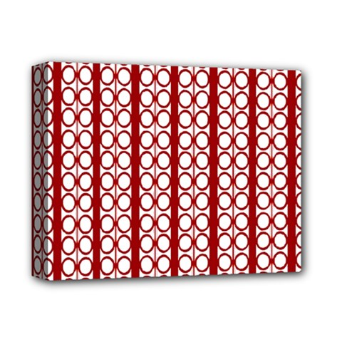 Circles Lines Red White Pattern Deluxe Canvas 14  X 11  (stretched)