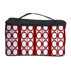 Circles Lines Red White Pattern Cosmetic Storage