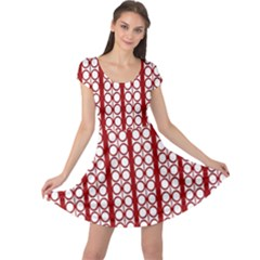 Circles Lines Red White Pattern Cap Sleeve Dress