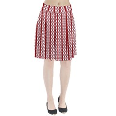 Circles Lines Red White Pattern Pleated Skirt