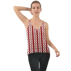 Circles Lines Red White Pattern Chiffon Cami