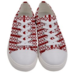 Circles Lines Red White Pattern Women s Low Top Canvas Sneakers