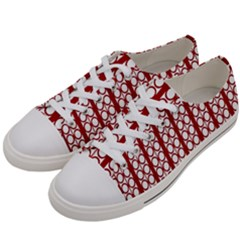 Circles Lines Red White Pattern Women s Low Top Canvas Sneakers by BrightVibesDesign