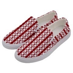 Circles Lines Red White Pattern Men s Canvas Slip Ons by BrightVibesDesign