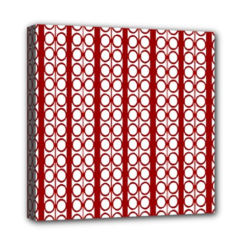 Circles Lines Red White Pattern Mini Canvas 8  X 8  (stretched) by BrightVibesDesign