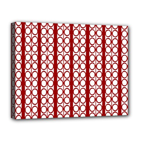 Circles Lines Red White Pattern Canvas 14  X 11  (stretched)