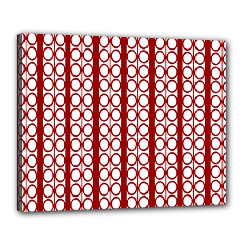 Circles Lines Red White Pattern Canvas 20  X 16  (stretched) by BrightVibesDesign