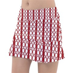 Circles Lines Red White Pattern Tennis Skirt
