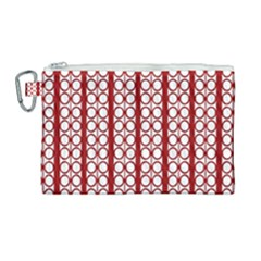 Circles Lines Red White Pattern Canvas Cosmetic Bag (large) by BrightVibesDesign