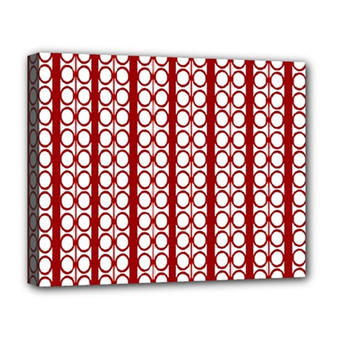 Circles Lines Red White Pattern Deluxe Canvas 20  X 16  (stretched)