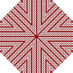 Circles Lines Red White Pattern Hook Handle Umbrellas (large) by BrightVibesDesign