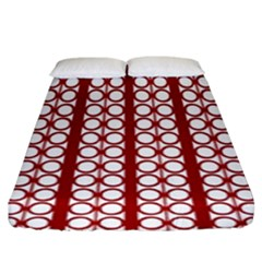 Circles Lines Red White Pattern Fitted Sheet (king Size)