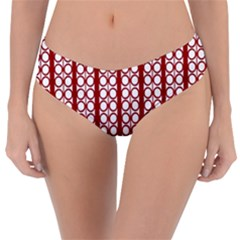 Circles Lines Red White Pattern Reversible Classic Bikini Bottoms