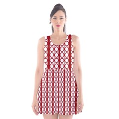 Circles Lines Red White Pattern Scoop Neck Skater Dress by BrightVibesDesign
