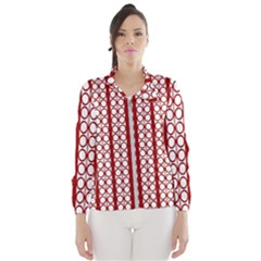 Circles Lines Red White Pattern Windbreaker (women)