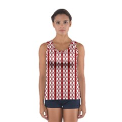 Circles Lines Red White Pattern Sport Tank Top