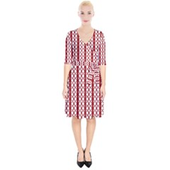 Circles Lines Red White Pattern Wrap Up Cocktail Dress