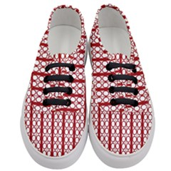 Circles Lines Red White Pattern Women s Classic Low Top Sneakers