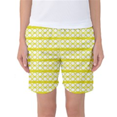Circles Lines Yellow Modern Pattern Women s Basketball Shorts