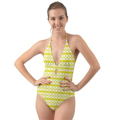 Circles Lines Yellow Modern Pattern Halter Cut Out One Piece Swimsuit