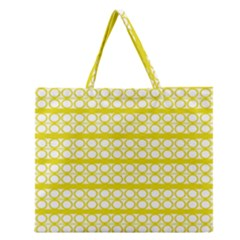 Circles Lines Yellow Modern Pattern Zipper Large Tote Bag