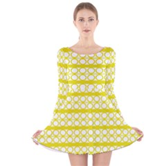 Circles Lines Yellow Modern Pattern Long Sleeve Velvet Skater Dress by BrightVibesDesign