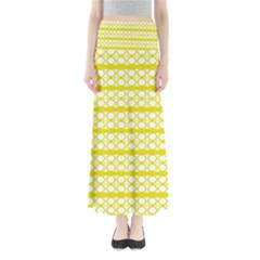 Circles Lines Yellow Modern Pattern Full Length Maxi Skirt