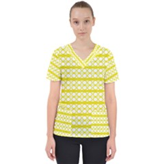Circles Lines Yellow Modern Pattern Women s V Neck Scrub Top