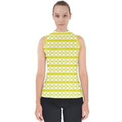Circles Lines Yellow Modern Pattern Mock Neck Shell Top