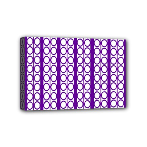 Circles Lines Purple White Modern Design Mini Canvas 6  X 4  (stretched) by BrightVibesDesign