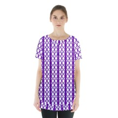 Circles Lines Purple White Modern Design Skirt Hem Sports Top by BrightVibesDesign