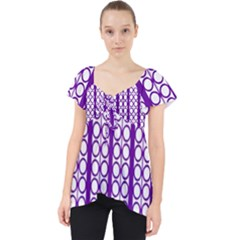 Circles Lines Purple White Modern Design Lace Front Dolly Top