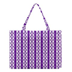 Circles Lines Purple White Modern Design Medium Tote Bag