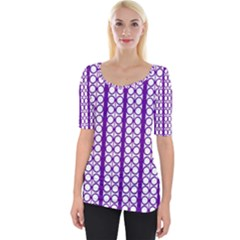 Circles Lines Purple White Modern Design Wide Neckline Tee