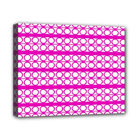 Circles Lines Bright Pink Modern Pattern Canvas 10  X 8  (stretched)