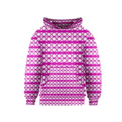 Circles Lines Bright Pink Modern Pattern Kids  Pullover Hoodie