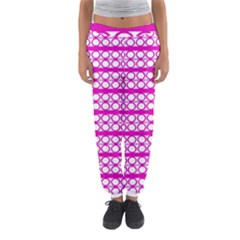 Circles Lines Bright Pink Modern Pattern Women s Jogger Sweatpants