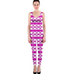 Circles Lines Bright Pink Modern Pattern One Piece Catsuit
