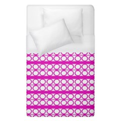 Circles Lines Bright Pink Modern Pattern Duvet Cover (single Size) by BrightVibesDesign