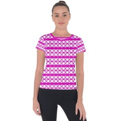 Circles Lines Bright Pink Modern Pattern Short Sleeve Sports Top  by BrightVibesDesign