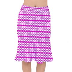 Circles Lines Bright Pink Modern Pattern Mermaid Skirt